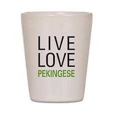Live Love Pekingese Shot Glass