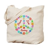 Sewing Peace Sign Tote Bag