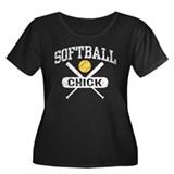 Softball Chick Women's Plus Size Scoop Neck Dark T