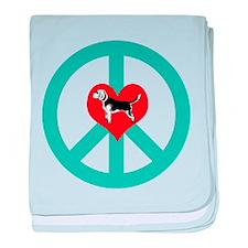Peace Love Beagle baby blanket