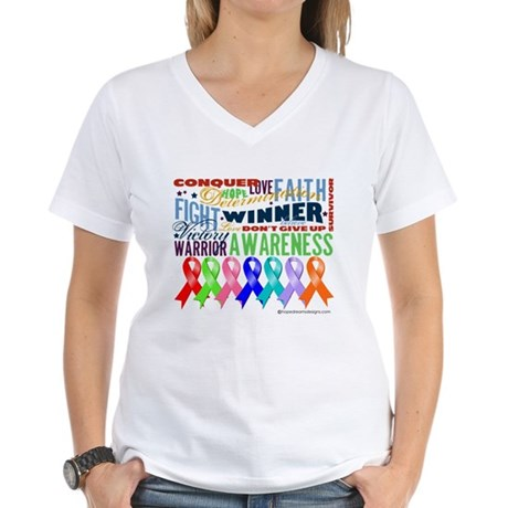 Ribbons For a Cause Women's V-Neck T-Shirt