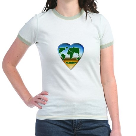 Heart-shaped Earth Jr. Ringer T-Shirt
