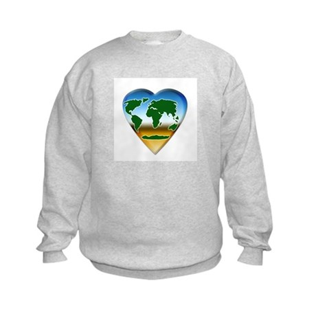Heart-shaped Earth Kids Sweatshirt