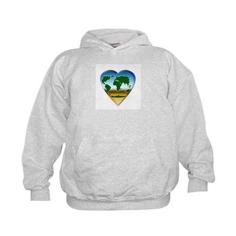 Heart-shaped Earth Kids Hoodie