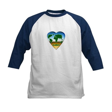 Heart-shaped Earth Kids Baseball Jersey