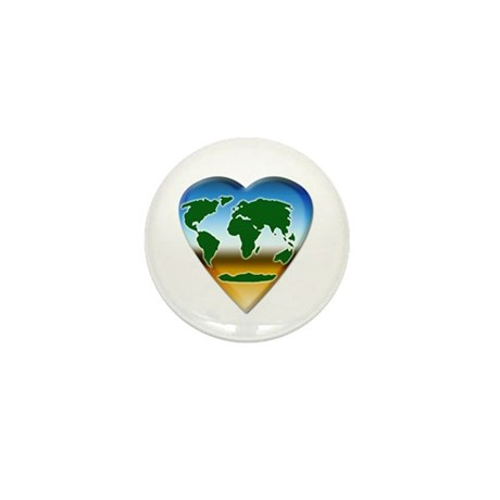 Heart-shaped Earth Mini Button