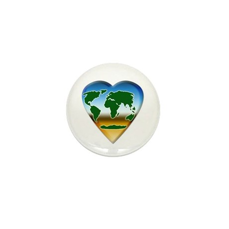 Heart-shaped Earth Mini Button (10 pack)