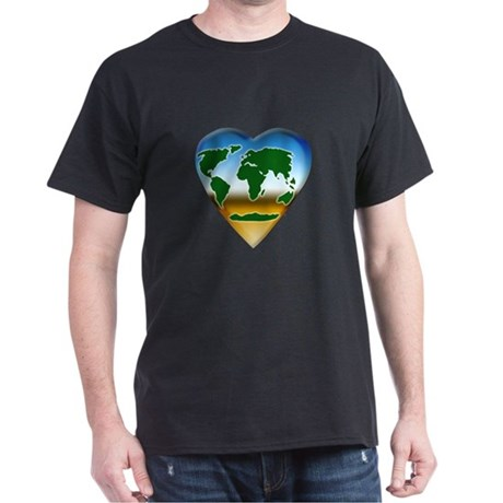 Heart-shaped Earth Black T-Shirt