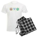 Peace, Love, Recycling Men's Light Pajamas