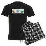 Peace, Love, Recycling Men's Dark Pajamas