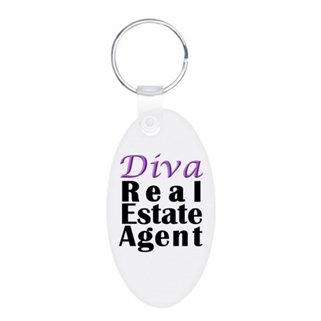 Diva Real estate Agent Aluminum Oval Keychain
