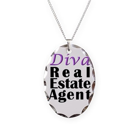 Diva Real estate Agent Necklace Oval Charm