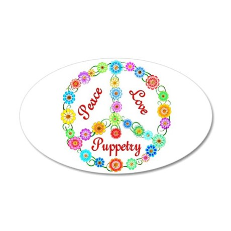 Puppetry Peace Sign 38.5 x 24.5 Oval Wall Peel