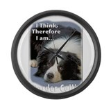 Border Collie-3 Large Wall Clock