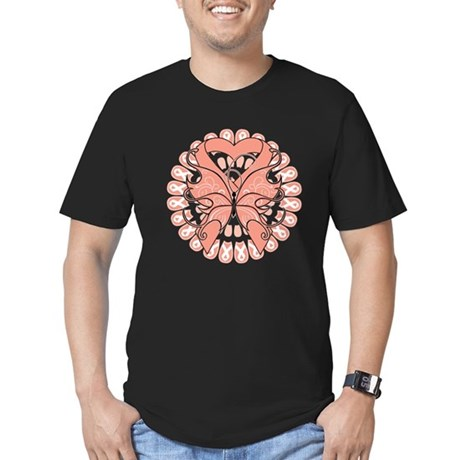 Uterine Cancer Butterfly Men's Fitted T-Shirt (dar