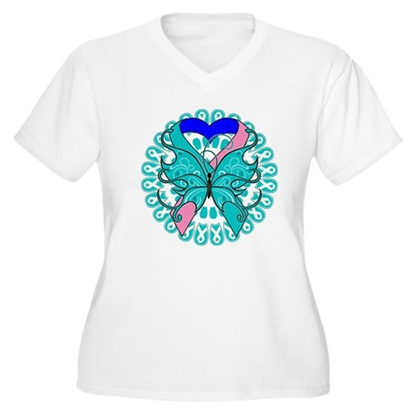 Thyroid Cancer Butterfly Women's Plus Size V-Neck