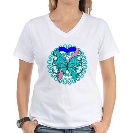 Thyroid Cancer Butterfly Women's V-Neck T-Shirt