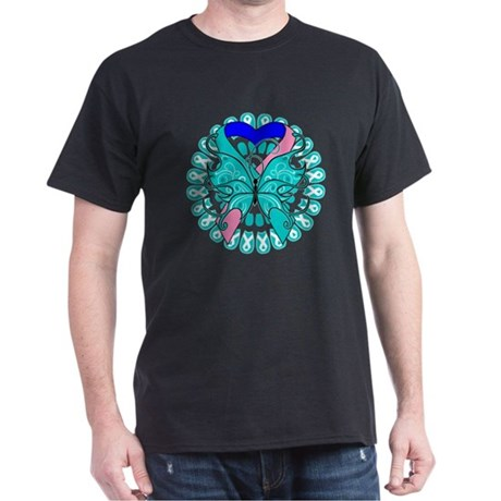 Thyroid Cancer Butterfly Dark T-Shirt