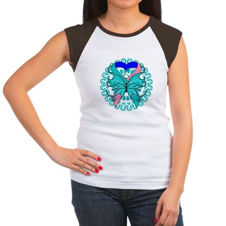 Thyroid Cancer Butterfly Women's Cap Sleeve T-Shir