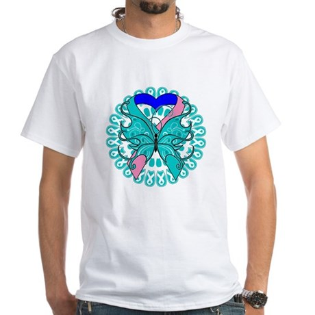 Thyroid Cancer Butterfly White T-Shirt
