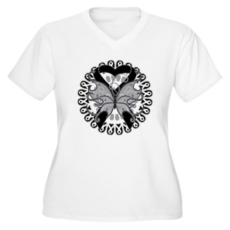 Skin Cancer Butterfly Women's Plus Size V-Neck T-S