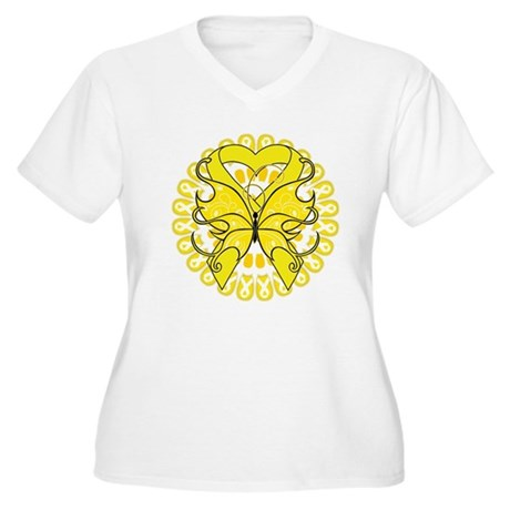 Sarcoma Cancer Butterfly Women's Plus Size V-Neck