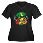 Fruits Fight Back Women's Plus Size V-Neck Dark T-