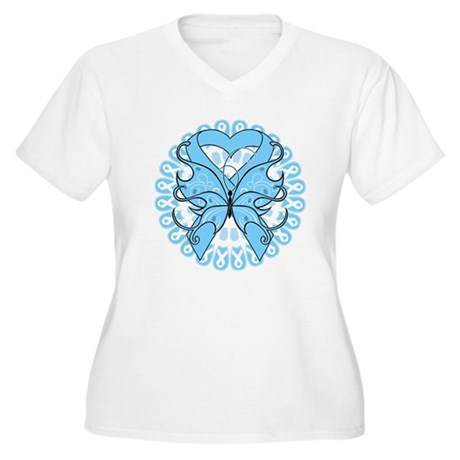 Prostate Cancer Butterfly Women's Plus Size V-Neck