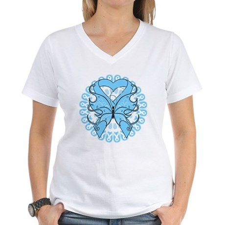 Prostate Cancer Butterfly Women's V-Neck T-Shirt