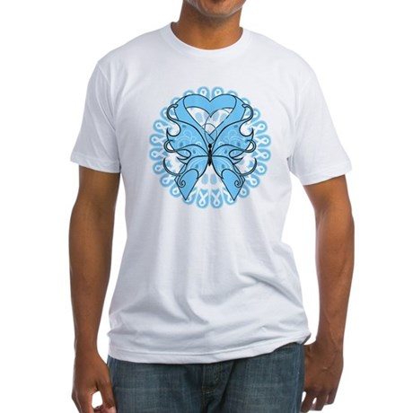 Prostate Cancer Butterfly Fitted T-Shirt