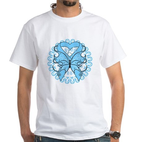 Prostate Cancer Butterfly White T-Shirt