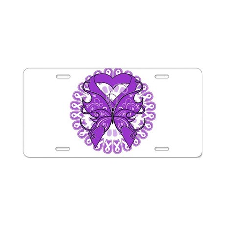 Pancreatic Cancer Butterfly Aluminum License Plate