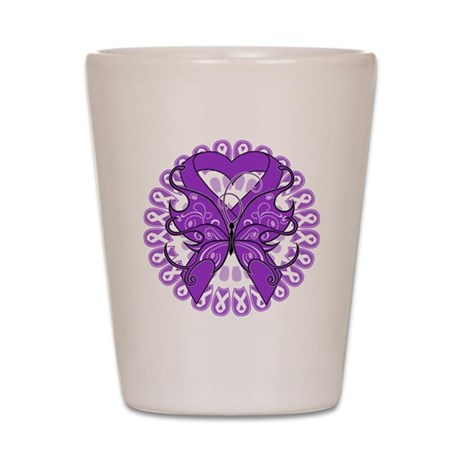 Pancreatic Cancer Butterfly Shot Glass