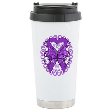Pancreatic Cancer Butterfly Ceramic Travel Mug