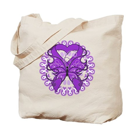 Pancreatic Cancer Butterfly Tote Bag