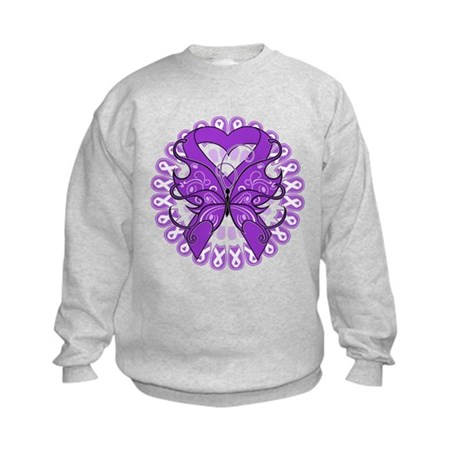 Pancreatic Cancer Butterfly Kids Sweatshirt