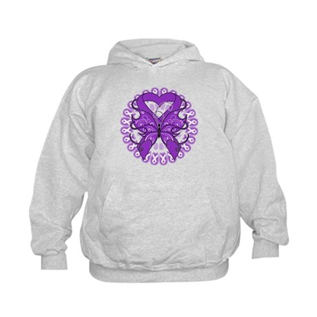 Pancreatic Cancer Butterfly Kids Hoodie