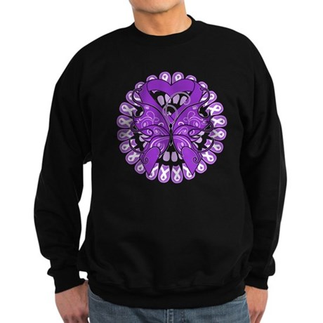Pancreatic Cancer Butterfly Sweatshirt (dark)