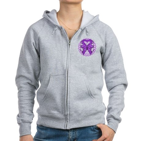 Pancreatic Cancer Butterfly Women's Zip Hoodie