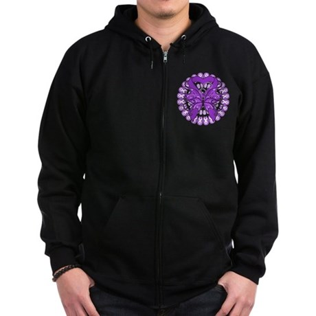 Pancreatic Cancer Butterfly Zip Hoodie (dark)