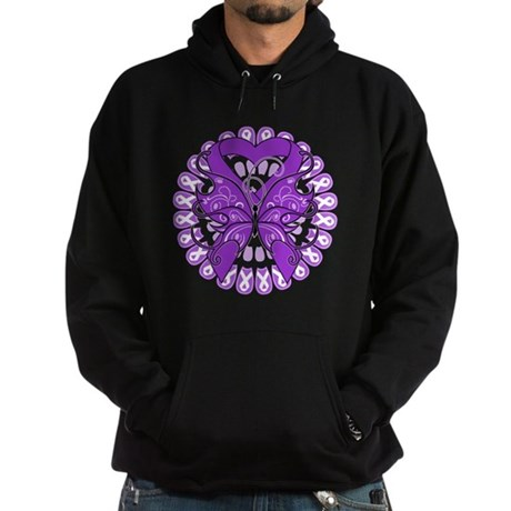 Pancreatic Cancer Butterfly Hoodie (dark)