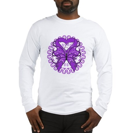 Pancreatic Cancer Butterfly Long Sleeve T-Shirt