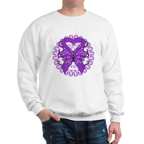 Pancreatic Cancer Butterfly Sweatshirt