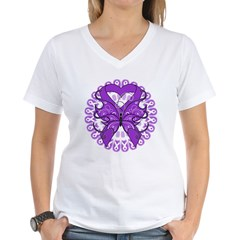 Pancreatic Cancer Butterfly Women's V-Neck T-Shirt