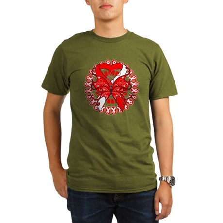 Oral Cancer Butterfly Organic Men's T-Shirt (dark)