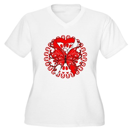 Oral Cancer Butterfly Women's Plus Size V-Neck T-S