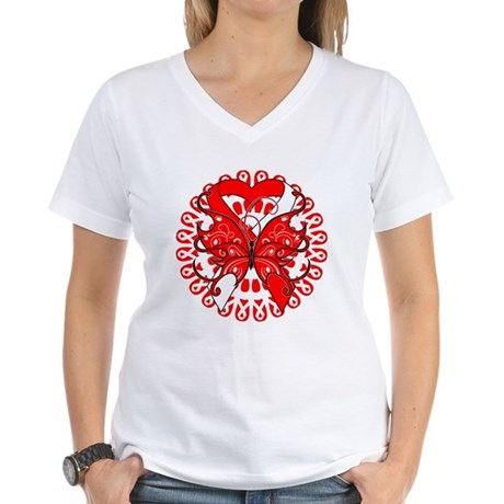 Oral Cancer Butterfly Women's V-Neck T-Shirt