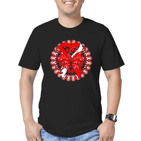 Oral Cancer Butterfly Men's Fitted T-Shirt (dark)