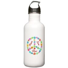Disco Peace Sign Sports Water Bottle