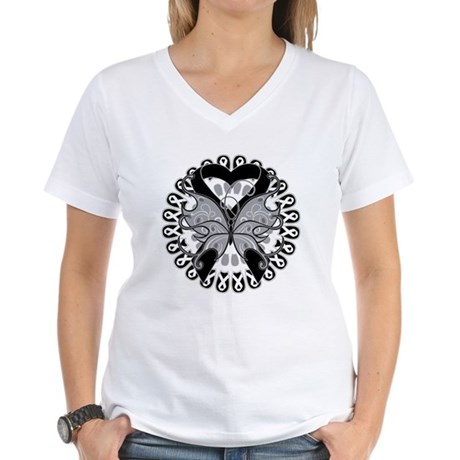 Melanoma Butterfly Women's V-Neck T-Shirt